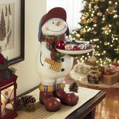Snowman with Serving Tray