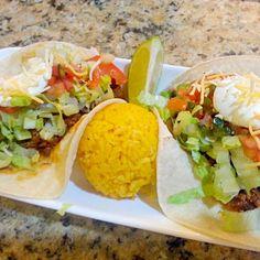 レシピとお料理がひらめくSnapDish - 6件のもぐもぐ - #Beef #tacos with yellow rice by Robert Schwab