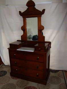 Antique Victorian Dresser With Mirror Photo #2 Eastlake Victorian Walnut  Drop Center Marble Top Dresser