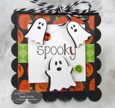 Spooky 3x3 Notecard by Joan Ervin #Cardmaking, #Halloween, #LittleBitsDies, #3x3Notecards