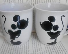 Mickey and Minnie Mugs by SplashofLacey on Etsy, $16.00
