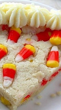 5-Ingredient Candy Corn Cookie Cake