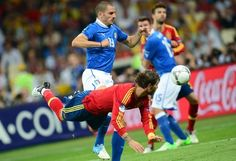 Spanish defender Sergio Ramos (front) heads the ball in front of Italian defender Leonardo Bonucci during the Euro 2012 football championships final match Spain vs Italy on July 1, 2012 at the Olympic Stadium in Kiev.