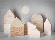 etsy shop anamarko.  natural wooden houses - set of six No1