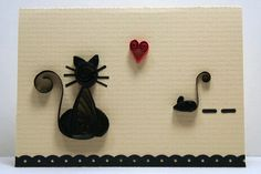 Set of Three Small Gift Note Cards and Envelopes with Quilled / Filigree Silhouette of a Kitty Cat Watching a Mouse. $7.25, via Etsy.