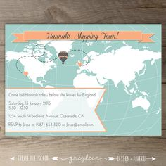 World Map Going Away Party Invitations / Goodbye Party Invites / Custom Moving Announcements • hot air balloon - DIY Printable • by greylein