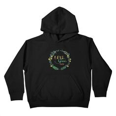 "Kid's pullover hoody GET ""Love Grows Here"" by tanjica with 50% Off Code: CC7B755AA3DA80C673F7    Flowers and leaves in a wreath with handwritten calligraphy in watercolor technique for all garden and nature lovers. Simple but effective, elegant and sophisticated hand painted watercolor artwork. Best T-shirt for gardener, baby, child or maternity apparel!"