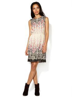 Rose Trellis Sleeveless Silk Dress by Anna Sui