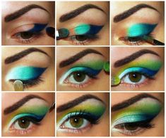 Nice makeup. step by step. I would totally use neutrals though-the bright colors look a bit silly to me.