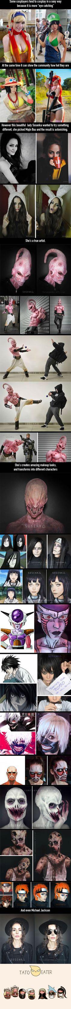 Make up Artist Sosenka Does an Amazing Majin Buu Cosplay.