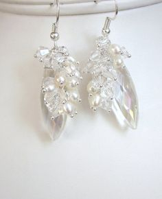 Bridal Swarovski Crystal and Pearl Cascade Cluster Earrings -Marquise AB Crystals Accented with Clusters of FW Pearls and Crystals. $32.50, via Etsy.