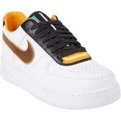Nike x Riccardo Tisci Women's Air Force 1 RT Low Sneakers ($230) ❤ liked on Polyvore featuring shoes, sneakers, nike, lace up sneakers, leather low top sneakers, flat sneakers и low sneakers
