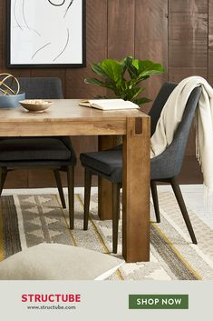 Shop our newest arrivals Gray Dining Chairs, Dinning Table, Upholstered Dining Chairs, Solid Wood Dining Table, Small Space Interior Design, Home Office Design, House Design, Rooms Ideas, Dark Interiors