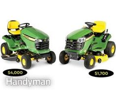 """Two mowers that look alike can have very different price tags. The model on the left, for example, costs $2,300 more than the one on the right. So what do you get when you spend more on a tractor? Count on a larger cutting deck with """"gauge wheels"""" that reduce """"scalping"""" when the tractor hits a low spot. And the loaded models have a power deck lift (as opposed to a manual lever lift). Most high-end models come with power steering, and some even include a tilt-wheel feature for added comfort."""