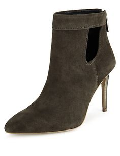 Dark Grey Suede Pointed Toe Ankle Boots with Insolia® Clothing