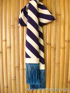 正絹しごき 手綱(斜め縞) 茄子紺