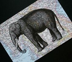 Elephant lovers - elephant print on vintage map background of Thailand and Myanmar/Burma, by CrowBiz on Etsy