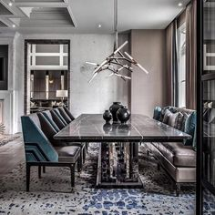 Masculine dining room design by l Photographed by . Dining Room Decor Modern, Modern Kitchen Tables, Dining Room Table Decor, Elegant Dining Room, Dining Room Lighting, Dining Room Design, Modern Room, Dining Rooms, Kitchen Dining