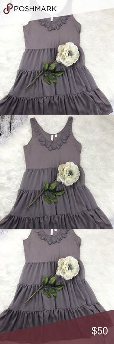 """💕SALE💕Anthropologie Gray Layered Dress Gorgeous Anthropologie Eloise Gray Layered Dress 36"""" from the top of the shoulder to the bottom 30"""" Waist 17"""" armpit to armpit Fully Lined Like New can be Dressed Up or Worn Casual Anthropologie Dresses"""