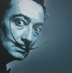 Surreal Stare by Salvador Dali. Spray paint on linen; multilayer stencil, all handcut, 50 x 50 cm