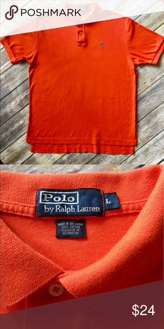 Polo by Ralph Lauren - Men's Short Sleeve Polo Polo By Ralph Lauren Men's Bright Orange, Short Sleeve Polo with Green Polo Logo. Soft cotton, not mesh (size L). Very Handsome shirt in excellent preowned condition. Please be sure to check out all of my other men's items to bundle and save. Same day or next business day shipping is guaranteed. Reasonable offers will be considered. Polo by Ralph Lauren Shirts Polos