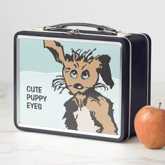 """Cute Dog With Blue Puppy Eyes - Metal Lunch Box / Lunchbox - Adorable and durable, our metal lunch box is perfect for those in love with the classic style. Customize the front and back with images, text and designs for a fabulously fun lunch time for your kids or yourself! Dimensions: 6.75"""" l x 8.625"""" w x 3.75"""" h Weight: 12 oz. Made of durable and food safe tin plate. Food contact safe interior material. Metal Lunch Box, Puppy Eyes, Animals Images, Lunch Time, Food Plating, Safe Food, Gifts For Dad, Cute Dogs, Classic Style"""