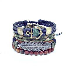 Pulseira masculina pulseiras masculinas couro leather ancora anchor navy stones