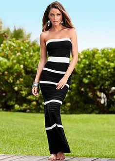 """lack & White (BKWH) Stripe Pointelle Maxi $79  From afternoon luncheons to evening cocktails, this pointelle maxi will keep you in classic style. ·  42"""" in length from natural waist   ·  Rayon/poly   ·  Imported  · Style #Y48033"""