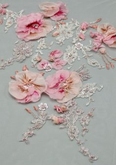 Couture Beading, Couture Embroidery, Rose Embroidery, Silk Ribbon Embroidery, Tambour Embroidery, Bead Embroidery Patterns, Hand Embroidery Designs, Silk Flowers, Fabric Flowers