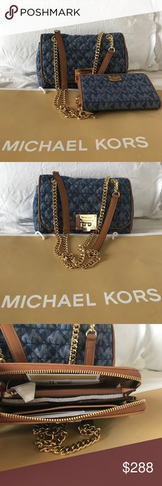🆕Michael Kors Denim Set 100% Authentic Michael Kors Denim Purse and Wallet.  Brand New with tags attached. Michael Kors Bags Crossbody Bags