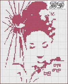 point de croix geisha - cross stitch geisha