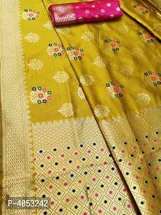 Multicoloured Silk Blend Saree with Blouse piece Silk Saree Banarasi, Trendy Fashion, Fashion Outfits, Designer Silk Sarees, Best Budget, Jacquard Weave, Floral Motif, Designer Wear, Types Of Fashion Styles