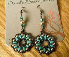 Pearl Duo and Crystal Earrings  Mint Green by OceanPearlJewellery