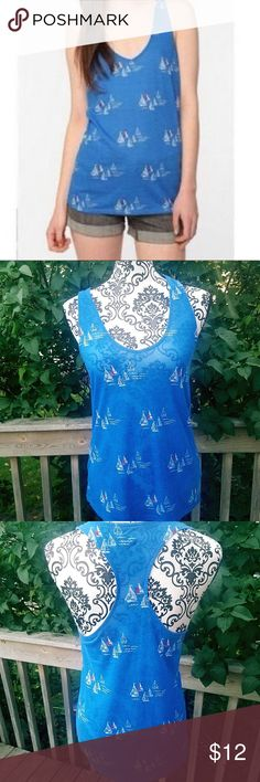 Urban Outfitters Blue Sailboat Racerback Tank By BDG from UO size Medium  In excellent pre owned condition  Cotton Blend Urban Outfitters Tops Tank Tops