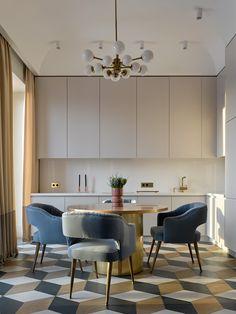 Kitchen Interior Design Sophisticated apartment in Moscow by Katerina Lashmanova Interior Desing, Interior Design Kitchen, Interior Ideas, Grey Kitchens, Cool Kitchens, New Kitchen, Kitchen Decor, Kitchen Modern, Kitchen Grey