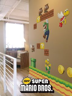 Stickers Muraux et stickers deco Stickers muraux géants NEW Super Mario Bros chez stickboutik.com