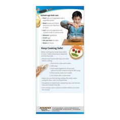 """4"""" x 9"""", 2-sided, cardstock 100 education cards It's never too soon to get kids excited about healthy eating. Helping prepare and cook foods is a great way for children to learn, have fun, and try nutritious foods. The Cooking with Kids Education Card highlights ways to make cooking with children easy and fun, including suggestions for preparing to cook, identifying different age appropriate tasks for preschoolers and school-age kids, and advice for keeping kids and the food safe. Engaging photo Nutrition Education, Kids Education, Healthy Kids, Healthy Eating, Brochure Display, Business Envelopes, How To Read A Recipe, Abc Songs, Cooking With Kids"""