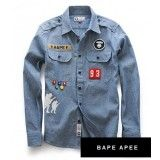 You've got to love anything denim! Classic but still in style, Foot Soldier Patch Denim Button Up Shirt by A Bathing Ape. Denim Button Up, Button Up Shirts, A Bathing Ape, Bape, Boy Outfits, Shirt Style, Shirt Designs, Street Wear, Street Style