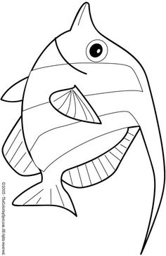 Fish coloring page Fish Coloring Page, Animal Coloring Pages, Colouring Pages, Coloring Pages For Kids, Coloring Books, Fish Quilt, Under The Sea Theme, Ocean Themes, Fish Art