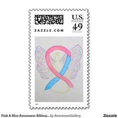 Pink and Blue Awareness Ribbon Angel Custom Art Postage Stamps