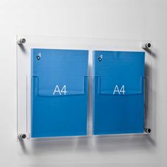 A4 leaflet holders wall mounted double pocket