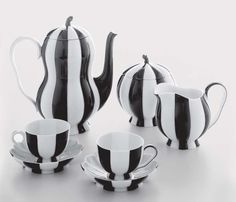 Melons Mocha Set: Josef Hoffmann, designed 1925. Hand-painted black and white porcelain. Other color combinations available.