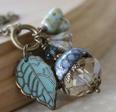 Acorn necklace -  blue swarovski crystal brass aqua leaf acorn necklace