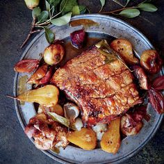 Abigail Donnelly recipe for Italian-styled pork belly roasted with verjuice and pears Pork Belly Roast, Pork Roast, Pork Belly Recipes, Roast Recipes, Stew And Dumplings, Sunday Roast, Pork Dishes, Butter Chicken, Special Recipes