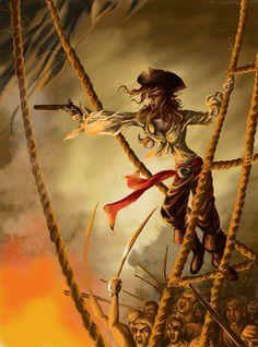 f Rogue Thief Pirate Hat Pistol battle ship sea coastal med Pirate Art, Pirate Woman, Pirate Life, Pirate Decor, Lady Pirate, Pirate Wench, Monkey Island, Medieval, Fantasy Castle
