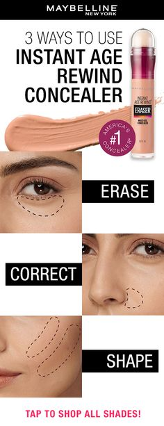 Easily get the no-makeup makeup look with Maybelline's Instant Age Rewind Concealer! Erase dark circles, correct dark spots and contour using this must-have concealer. #concealerhack #concealertip