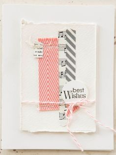 handmade card from So Shelly Blog ... light and bright ... shabby chic ... strips of ribbon paper and washi tape ... baker's twine ties up the torn edge watercolor paper main panel ... casual and sweet ... Stampin' Up!