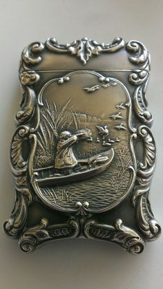 Antique Fancy Sterling Silver Duck Bird & Hunting Boat Match Safe / Vesta Case Box