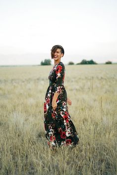 The Sienna Floral Maxi: Olive this maxi flora dress for fall