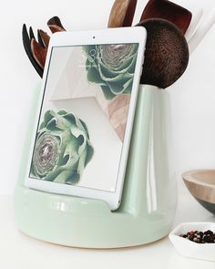 Form meets function in the kitchen. Utensil holder meets iPad stand. A great wedding gift